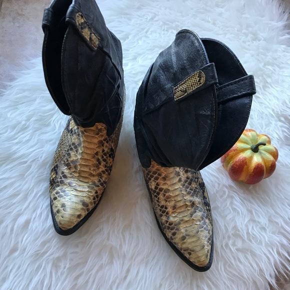 b3472afd029 Mens Vintage Dingo Snakeskin Slouch Boots Size 10D